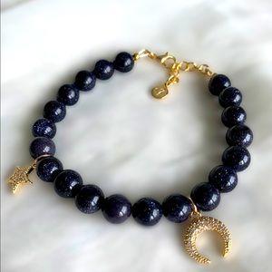 Blue Sandstone Gemstone Charm Bracelet